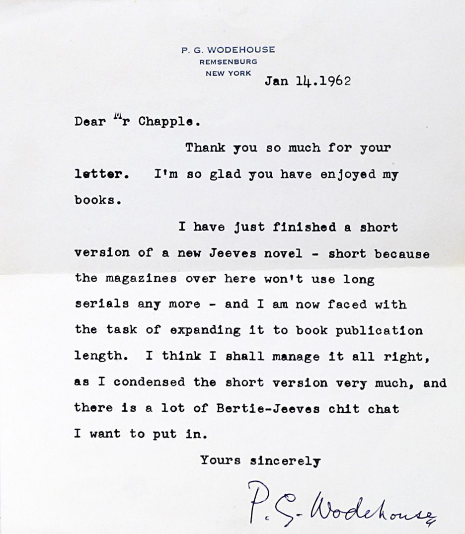 typed letter signed  p g wodehouse  first edition