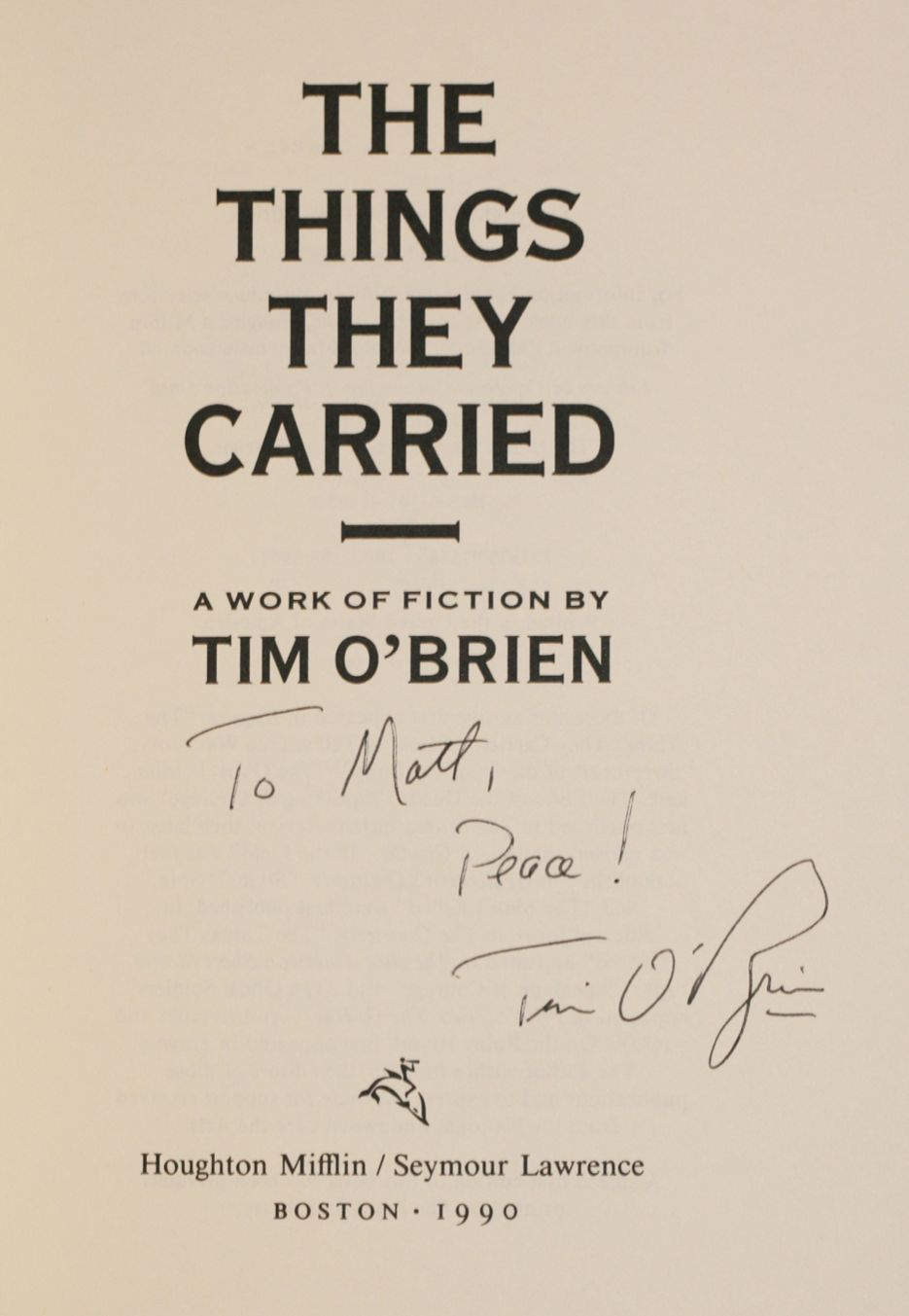 the things they carried tim o brien st edition the things they carried
