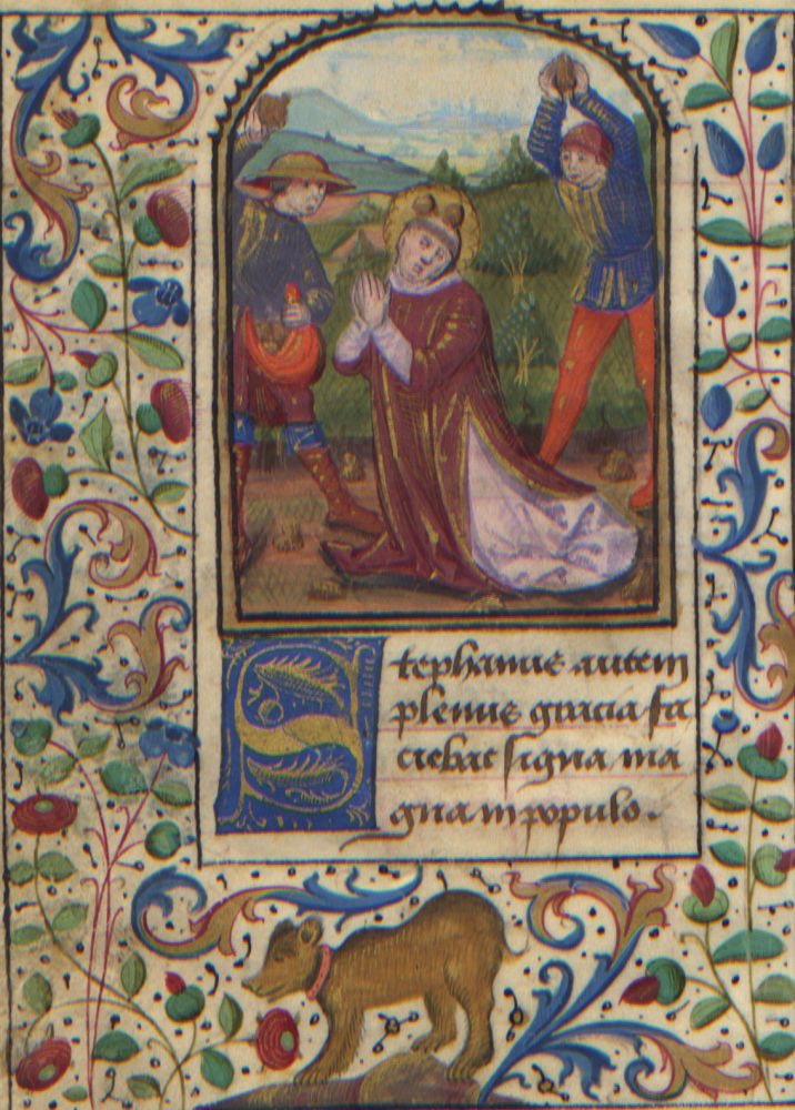 Illuminated Manuscript: The Stoning of Saint Stephen from a 15th Century Book of Hours. Illuminated Manuscript.