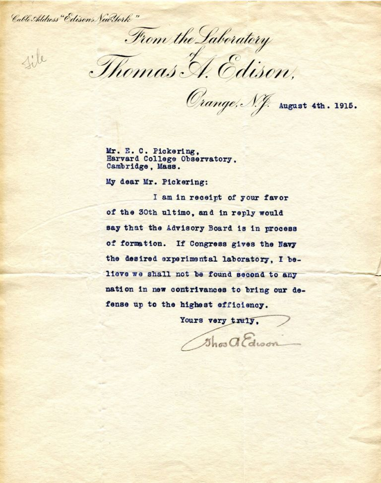 thomas edison letter typed letter signed tls edison 1st edition 25267 | 1137