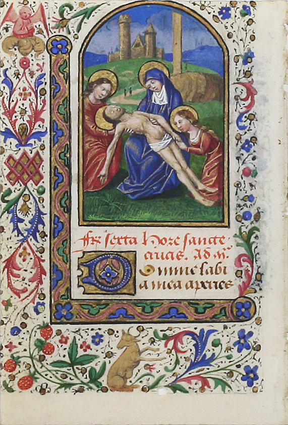 Illuminated Manuscript Leaf: The Lamentation. ILLUMINATED MANUSCRIPT.