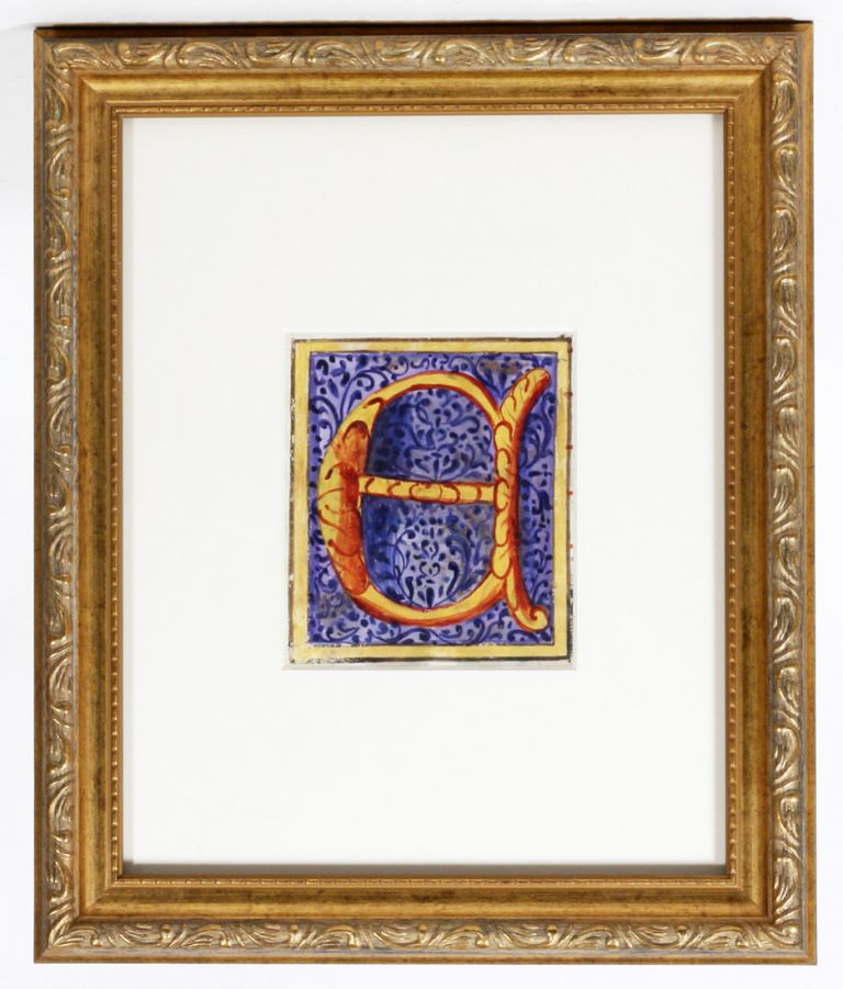 "Illuminated Manuscript: Large Initial ""E"" ILLUMINATED MANUSCRIPT."