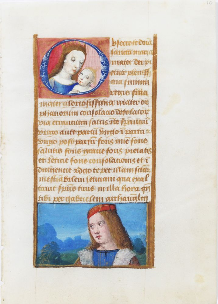 Illuminated Manuscript Leaf with Miniature of Mary. ILLUMINATED MANUSCRIPT.
