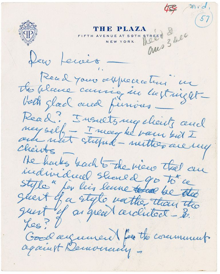 Autograph Letter Signed. FRANK LLOYD WRIGHT.