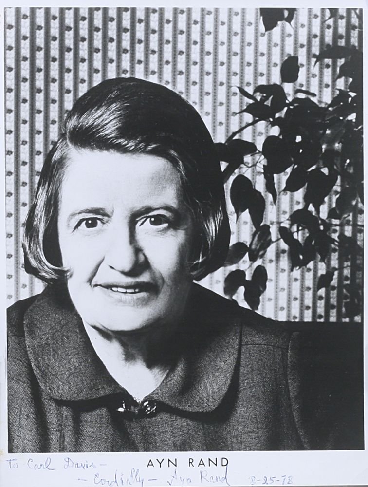Photograph Signed. AYN RAND.