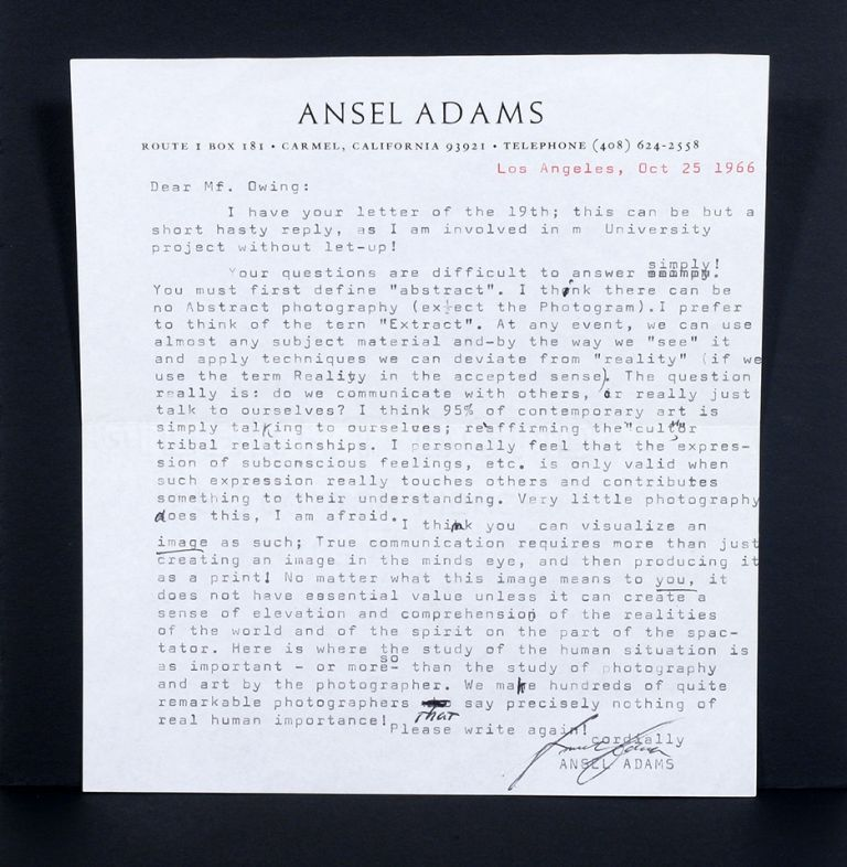 Typed Letter Signed. Ansel Adams.