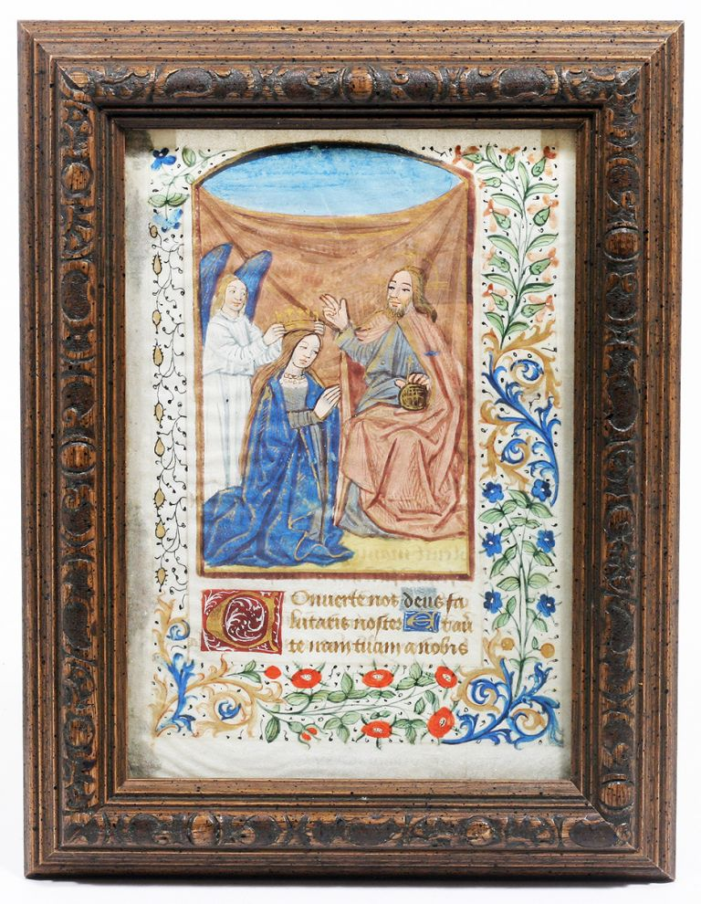 Illuminated Manuscript: Coronation of the Virgin Mary. Illuminated Manuscript.