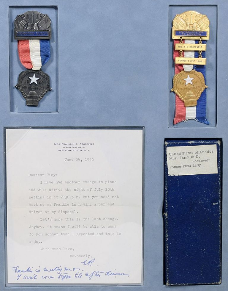 Personal Badges for the 1960 Democratic National Convention; with Typed Letter Signed. ELEANOR ROOSEVELT.