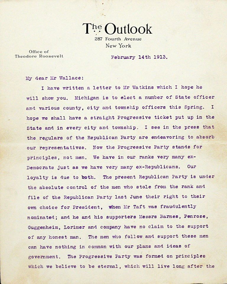 Typed Letter Signed. THEODORE ROOSEVELT.