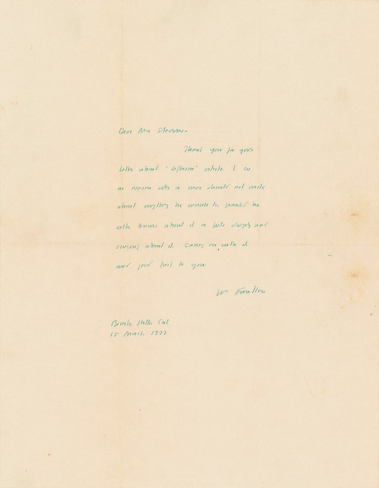 Autograph Letter Signed [ALS]. WILLIAM FAULKNER.