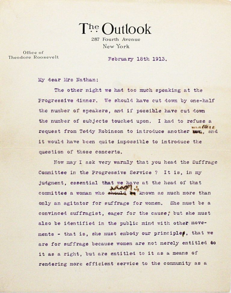 Typed Letter Signed [TLS]. THEODORE ROOSEVELT.