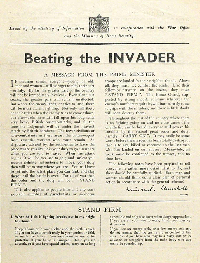 Beating the Invader. WINSTON CHURCHILL.
