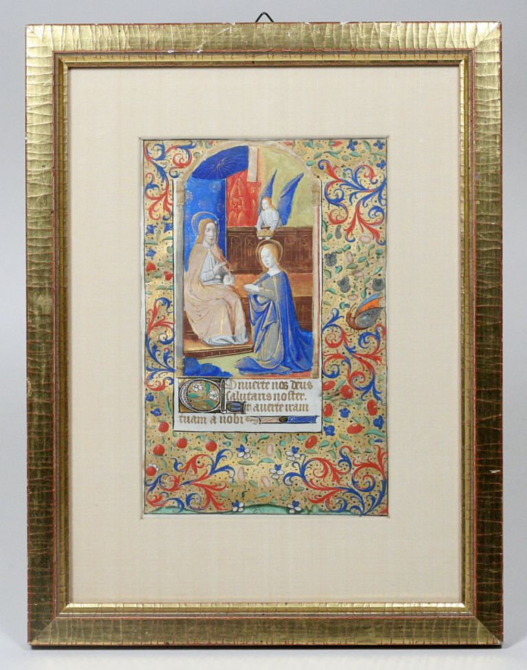 Illuminated Manuscript Leaf: Large leaf with miniature of the Coronation of the Virgin from a French Book of Hours. ILLUMINATED MANUSCRIPT.