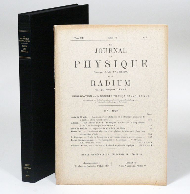 La mécanique ondulatoire et la structure atomique de la matière et du rayonnement [Wave mechanics and the atomic structure of matter and of radiation]. LOUIS-VICTOR DE BROGLIE.