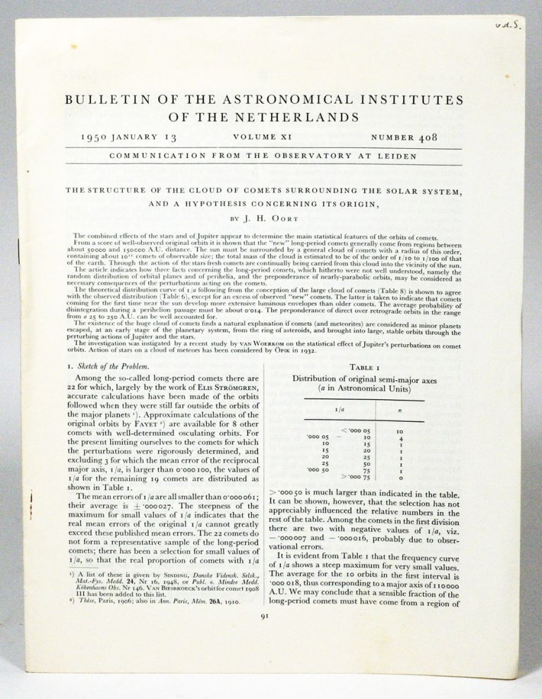The structure of the cloud of comets surrounding the Solar System and a hypothesis concerning its origin. JAN HENDRIK OORT.