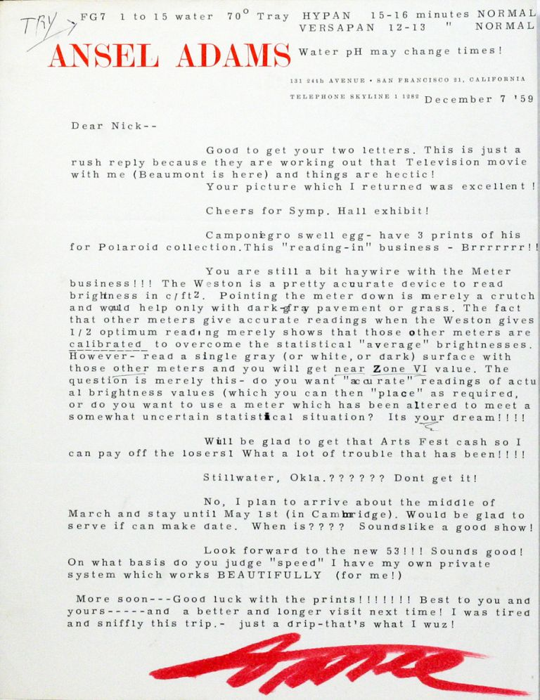 Typed Letter Signed [TLS]. ANSEL ADAMS.