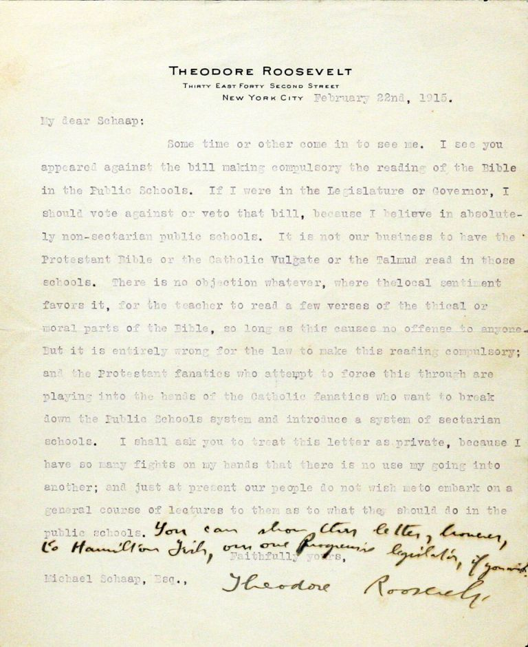 Typed Letter Signed with Autograph Additions [TLS]. THEODORE ROOSEVELT.