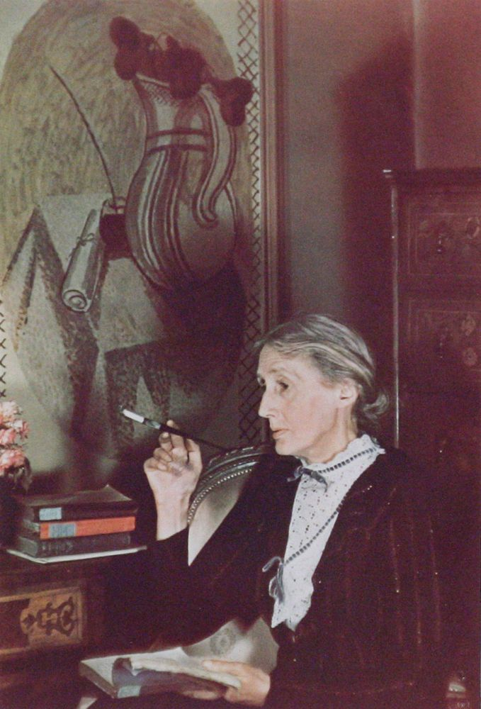 Photograph of Virginia Woolf signed by Gisèle Freund. VIRGINIA WOOLF, GISÈLE FREUND.