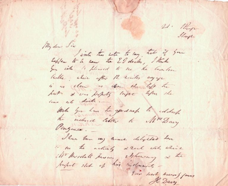 Autograph Letters Signed. Humphry Davy.