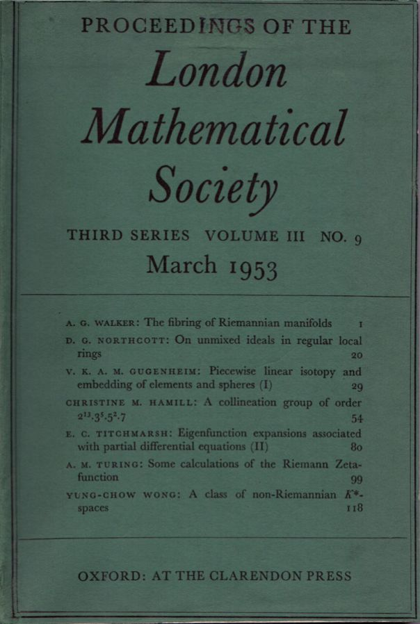 Some Calculations of the Riemann Zeta-function   Alan Turing