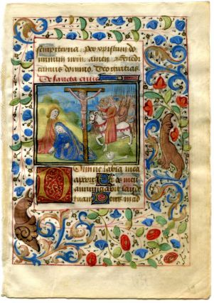 Illuminated Manuscript: Decorated Leaf with Crucifixion Scene Miniature. illuminated Manuscript.