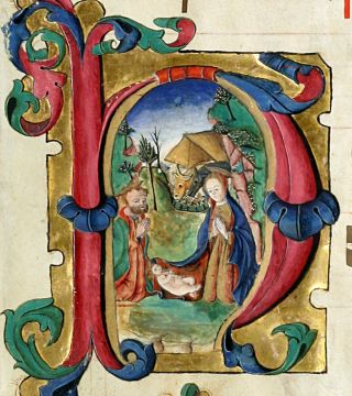 Illuminated Manuscript: Nativity Scene. illuminated Manuscript.