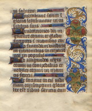 Illuminated Manuscript: Psalms 149 & 150 from a 15th Century Book of Hours. Illuminated Manuscript.