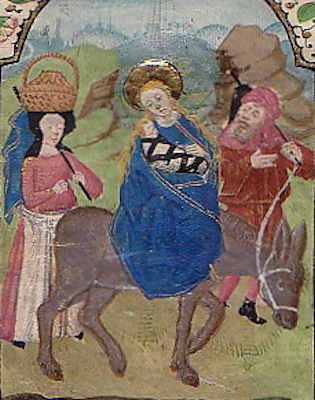 Illuminated Manuscript: Flight into Egypt from a 15th Century Book of Hours. Illuminated Manuscript.