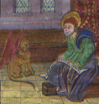 Illuminated Manuscript: Mark the Evangelist with Winged Lion form a 15th Century Book of Hours. Illuminated Manuscript.