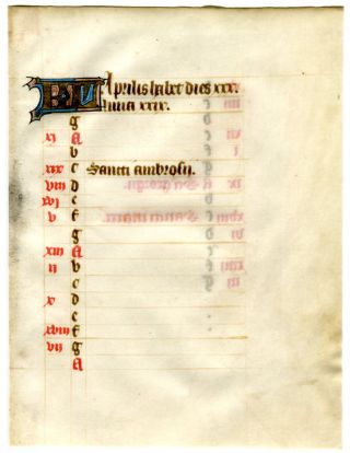 Illuminated Manuscript: April Calendar Leaf from a 15th Century Book of Hours. Illuminated Manuscript.