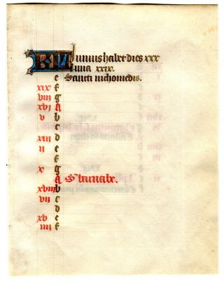 Illuminated Manuscript: June Calendar Leaf from a 15th Century Book of Hours. Illuminated Manuscript.