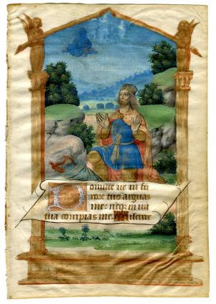 Illuminated Manuscript: King David Kneeling Before God. Illuminated Manuscript.