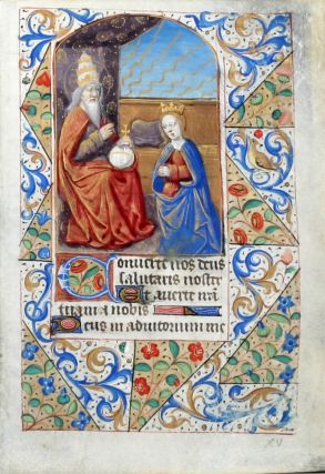 Illuminated Manuscript Leaf: The Coronation of the Virgin. ILLUMINATED MANUSCRIPT.