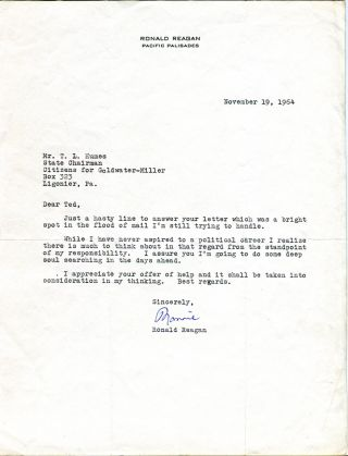 Typed Letter Signed. RONALD REAGAN.