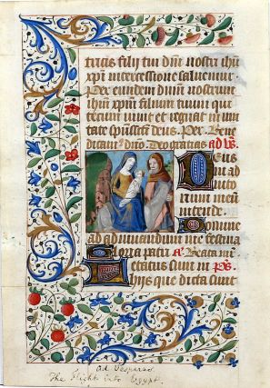 Illuminated Manuscript Leaf with Miniature: The Flight into Egypt. ILLUMINATED MANUSCRIPT.