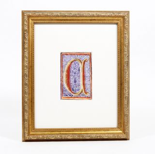 "Illuminated Manuscript: Large Initial ""C"" Illuminated Manuscript"