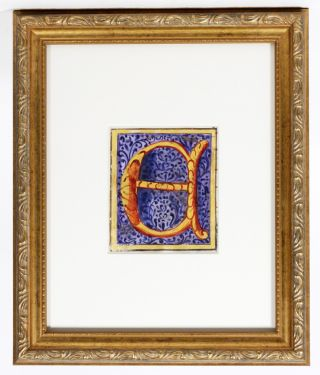 "Illuminated Manuscript: Large Initial ""E"" ILLUMINATED MANUSCRIPT"