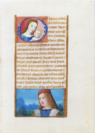 Illuminated Manuscript Leaf with Miniature of Mary. ILLUMINATED MANUSCRIPT