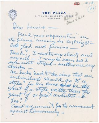 Autograph Letter Signed. FRANK LLOYD WRIGHT