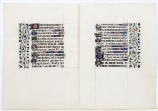 Illuminated Manuscript Leaves: Psalms 8 and 18. ILLUMINATED MANUSCRIPT.