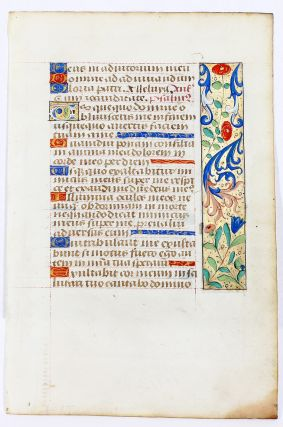 Illuminated Manuscript: Psalms 12 and 43 from a 15th-Century French Book of Hours. Illuminated Manuscript.