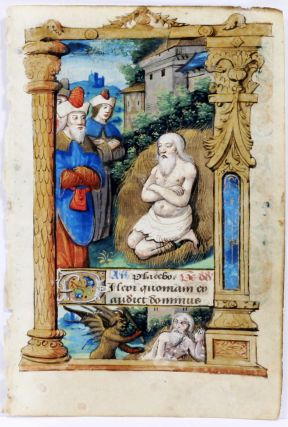 Illuminated Manuscript: Leaf with Miniature Depicting Job. Illuminated Manuscript.
