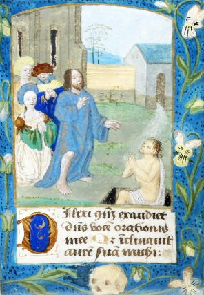 Illuminated Manuscript: Leaf with Miniature of the Raising of Lazarus. Illuminated Manuscript.