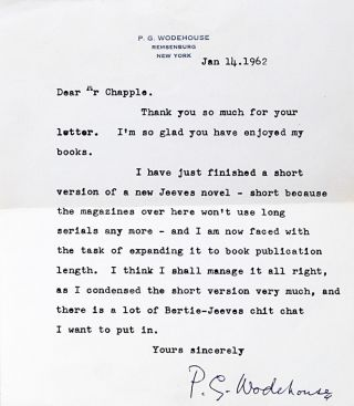 Typed Letter Signed. P. G. WODEHOUSE.
