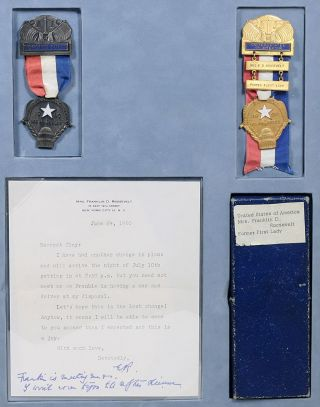 Personal Badges for the 1960 Democratic National Convention; with Typed Letter Signed. ELEANOR...
