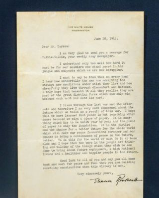 TYPED LETTER SIGNED. ELEANOR ROOSEVELT