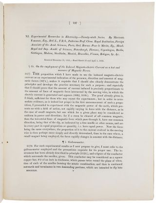 Experimental researches in electricity – twenty-eight series. On the Lines of Magnetic Force; their definitive character; and their distribution within a Magnet and through Space. [With:] Ibid. – twenty-ninth series. On the employment of the Induced Magneto-electric Current as a test and measure of Magnetic Forces