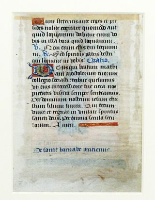 Illuminated Manuscript: Leaf with Miniature of Saint Barnabas