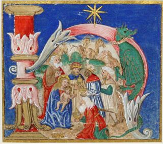 Illuminated Manuscript Miniature: The Adoration of the Magi [The Epiphany]. ILLUMINATED MANUSCRIPT.