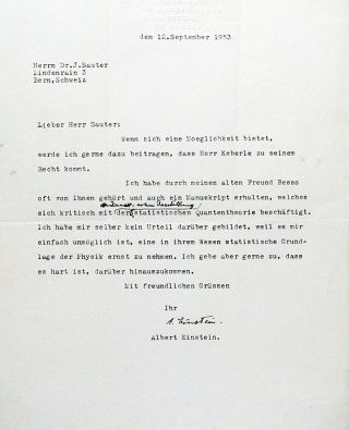 Typed Letter Signed with Autograph Annotation. ALBERT EINSTEIN